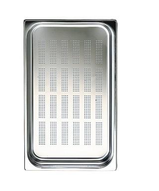 Cubeta GN perforada en inox, GN 1/1 altura 100 mm