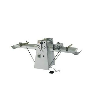 Laminadora de masa sobre ruedas, cilindros 600 mm, mesas 1200 mm, velocidad variable