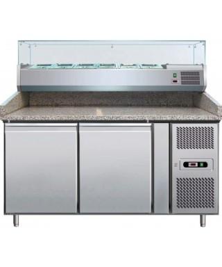 Mesa fría pizza con 2 puertas 1510X800X1415 , expositor de ingredientes 8x GN 1/2