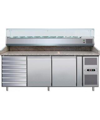 Mesa fría pizza con 3 puertas y cajones  2025X800X1415, expositor de ingredient 9 GN1/3