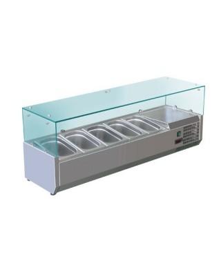 Vitrina expositora refrigerada estática con vitro curvado, +4 °C/+6 °C, L 2000 mm