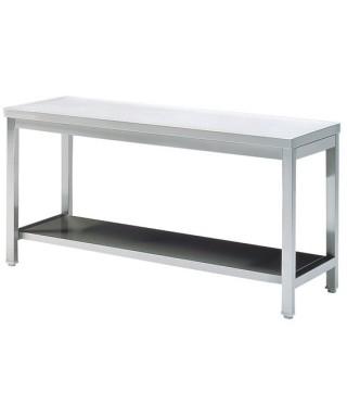 Mesa de preparación de acero inoxidable con estante 600mm