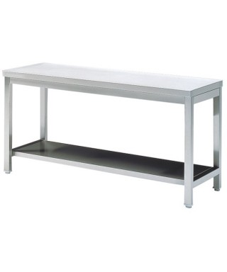 Mesa de preparación de acero inoxidable con estante  1500 mm
