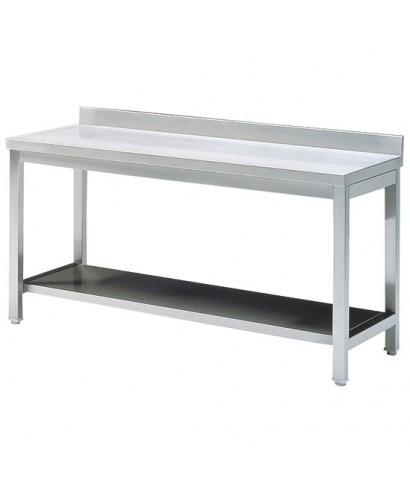 Mesa de preparación de acero inoxidable  con peto y estante 1500mm