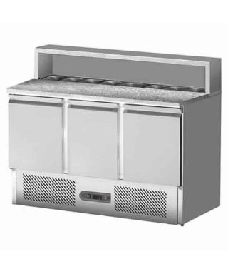 Mesa fría para pizza con 3 puertas, 8x GN 1/6, +2°C/+8°C