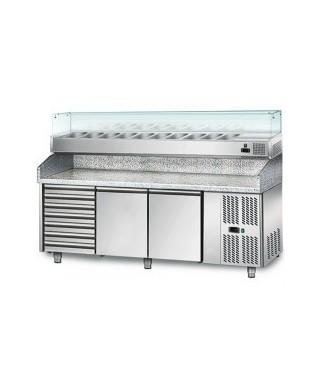 Mesa refrigerada de pizza, encimera de granito, con 1 puerta y 4 cajones GN 1/2, 460 L, 0°C/+6°C