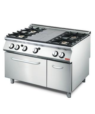 cocina a gas, 6 quemadores, 1 horno convección eléctrico, 1 armario cerrado