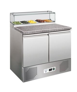 Mesa refrigerada de pizza, encimera de granito, con 2 puertas, 230 L, 0°C/+6°C