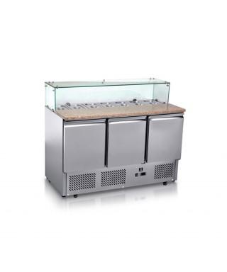Mesa refrigerada de pizza, encimera de granito, con 3 puertas, 355 L, 0°C/+6°C