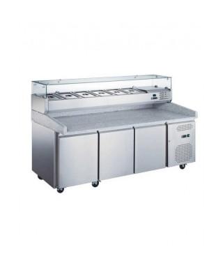 Mesa fría pizza con 3 puertas 2025X800X1415, expositor de ingredientes 9 GN1/3